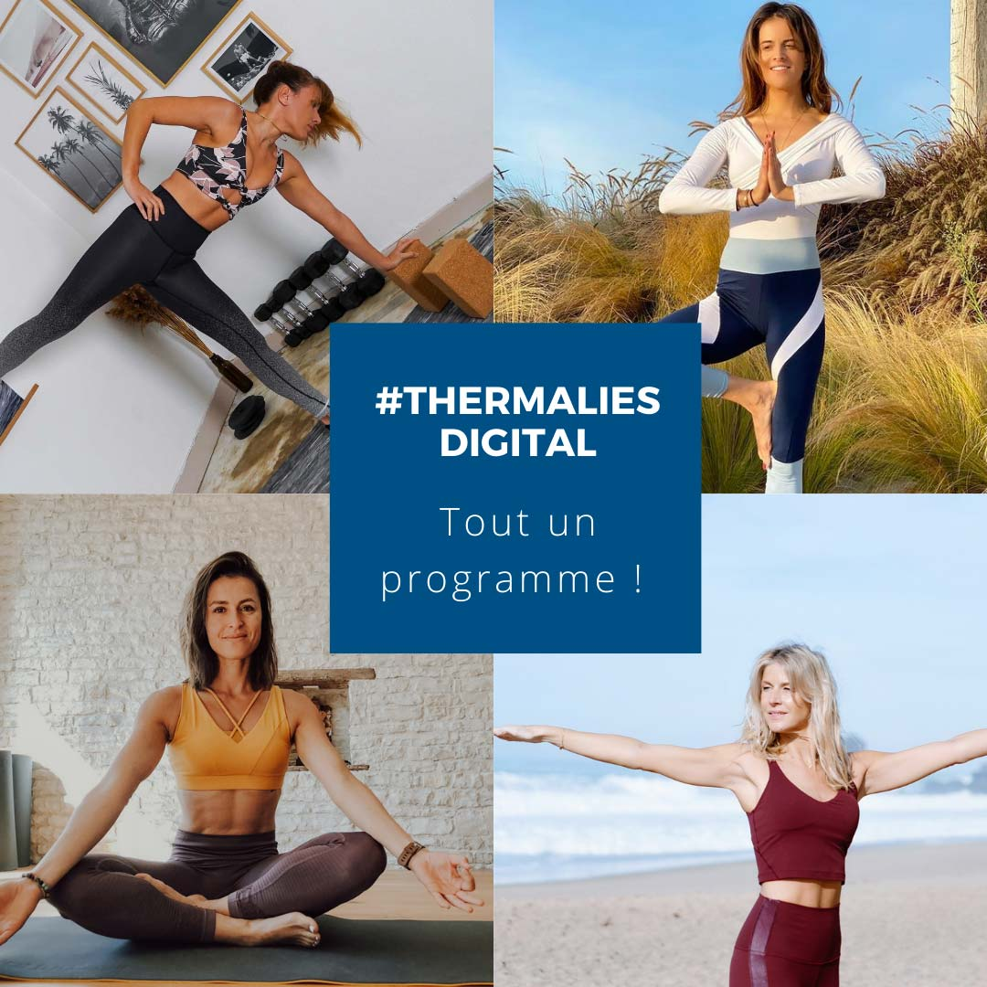 visuel illustrant les cours yoga, gym, sophro Thermalies Digital